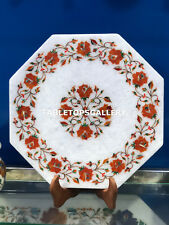 "12"" White Marble Side Coffee Table Top Carnelian Floral Inlay Bedroom Decor E126"