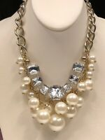 Vintage silver large pearl and faceted Rhinestone bib statement necklace