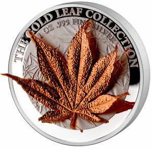 """Tokelau 2017 5$ Gold Leaf Collection 3D Japanese Maple Leaf 1 Oz Silver Coin """"7"""""""