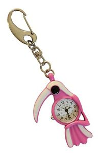 Pink & White Parrot Bird With white Beak FOB Pocket Key Ring Watch for Doctors