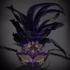 Masquerade Mask Feather Purple Venetian Mardi Gras Masks for Women M33136C