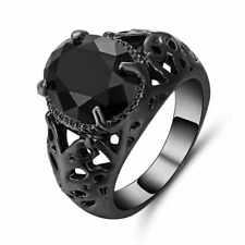 Size 9 Woman Man Black 10K Gold Filled Black Sapphire Wedding Ring