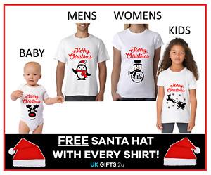 Personalised Christmas Xmas T-Shirt FREE HAT Family Set Kids Mens Women Children