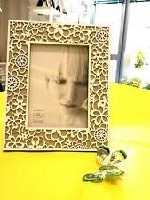 Cornice portafoto legno deco fiorePhoto frame wood deco white flower Mascagni
