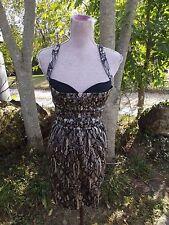 Bebe XS Black & Nude Lace Print Silk Blend Dress Peekaboo Bra Corset Style Top