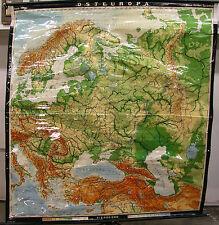 Schulwandkarte Map Eastern Europe Poland Russia Scandinavia 195x208cm 1969