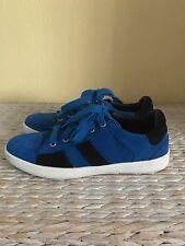 Zara Bright Blue Black Strips Suede Leather Trainers Plimsolls Sneakers Uk5/Eu38