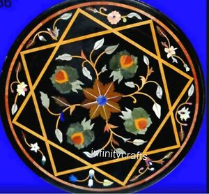 18 Inch Black Marble Table Top Inlay Multi Color Gemstones Coffee Table for Home