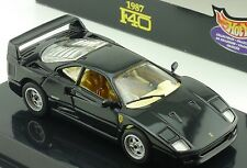 HOT WHEELS 1:43 DIE CAST FERRARI F40 1987 NEGRO ARTE 22166