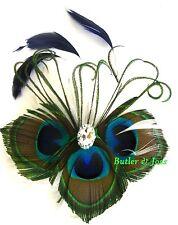 New Peacock Diamante Feather Hair Clip Fascinator Handmade in UK 'Reign'