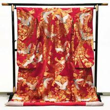 Japanese Kimono Robe Dress Cardigan Jacket Crane Pattern Uchikake Silk Gold T286