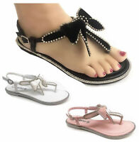 Womens Ladies Summer Beach Flat Diamente Bow Party Dress Sandals Shoes size 3-8