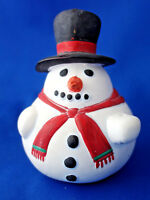 """Christmas white ceramic snowman bell ornament 4½"""" tall hand painted figurine"""