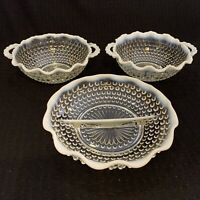 Set of Fenton White Hobnail Opalescent Glass Bowls & Divides Dish Ruffled Edge