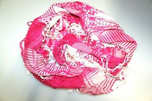 Unisex Pink & White Checked Neck Warmer Face Covering Scarf Large Square Tassel