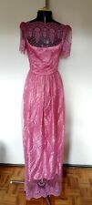 Unique vintage maxi full length light pink lace layered top gown dress S