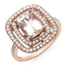 2.70 Carat Diamond and Genuine Morganite Cocktail Ring Size 8 MSRP $2,100