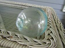 "Antique 10"" Clear/Blue Glass Fishing Float"