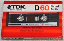 TDK D 60 1982 SEALED BLANK AUDIO COMPACT CASSETTE ANALOG TAPE D60