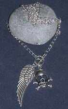 "18"" tibetan silver angel wing & skull t-bar necklace"