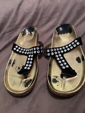 PEDRO GARCIA Black Leather Judith Swarovski Crystal Studded T Strap Sandals 11
