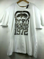 Ecko Unltd Mens XL White with Gold Graphic T-Shirt Logo Print Tee Size XL