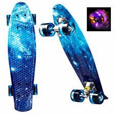 Skateboard WeSkate Unisex Mini Cruiser Retro Komplettboard LED 55 cm Blau B-WARE