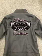 Harley Davidson Women's Medium Jacket Pink Grey Gray Hood