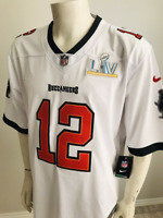 Nike Tampa Bay Buccaneers #12 Tom Brady White SB55 Patch Jersey Men's Size M