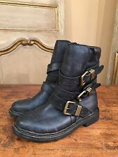 New Free People Women's Brit Double Buckle Ankle Motorcycle Boots Black Size 7