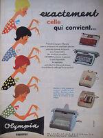 PUBLICITÉ DE PRESSE 1961 MACHINE A ÉCRIRE OLYMPIA BRUNSVIGA - ADVERTISING