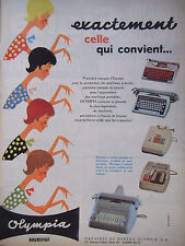 PUBLICITÉ DE PRESSE 1961 MACHINE A ÉCRIRE OLYMPIA BRUNSVIGA - ADVERTISING
