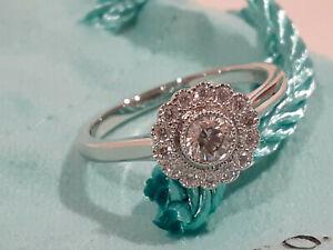 Tiffany & Co. Platinum PT 950 Diamond Flower Enchant Ring- Size 6