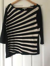 Per Una Top Short Sleeve Black & White Stripes Size 18