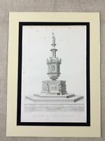 1857 Antique Engraving Architecture Baptismal Font Duomo di Siena Cathedral