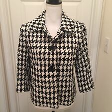 Josephine Chaus Women's Houndstooth White and Black Boucle Jacket Size 6 Career