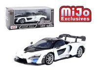 MOTORMAX 1/24 WHITE w/BLACK MCLAREN SENNA DIECAST MODEL CAR  79355WHT