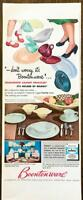 1953 Boontonware Colorful Melmac Dishes PRINT AD Takes to Rugged Family Wear