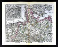 1880 Stieler Map Germany Holstein Hanover Berlin Holand Denmark HamburgEurope