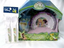 Tinkerbell+Fairies Mealtime Dinnerware Set Includes Plate,Bowl,Cup and Flatware
