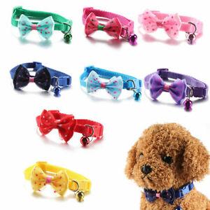 Bow Tie Adjustable Cat Necktie Collar Bowknot Dot Bell Cat Dog Pet Puppy UK