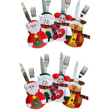 8PCS Christmas Spoon Fork Cutlery Covers Bag Tableware Xmas Cutters Holder Decor