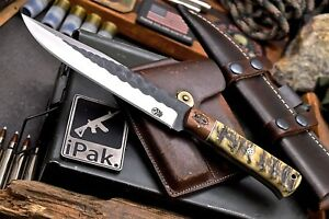 CFK IPAK Handmade AUS-8 Custom Sheep Horn WOLF BEAR Engraved Rosewood Camp Knife