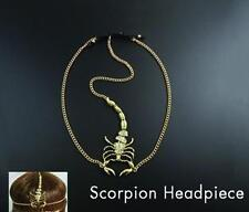ETHNIC TRIBAL GYPSY ARABIAN Gold Plated SCORPION HEAD CHAIN PIECE with CRYSTALS