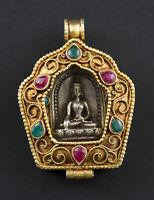 Budda Gau a Sospensione Amuleto Tibetano Bodhisattva Ghau Filigrana Nepal 26507