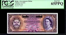 """BELIZE P34b """"QUEEN ELIZABETH II' $2 1975 PCGS 65PPQ"""