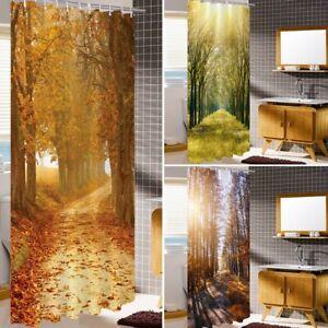 "Bathroom Forest Shower Curtain With Hooks Waterproof Fabric Bathroom Curtain 71"""