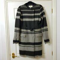 CLEMENTS RIBEIRO Boucle Coat 100% Wool Green Grey Stripe Coatigan 14 UK L