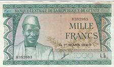 BILLET BANQUE GUINEE GUINEA 1000 frs 01-03-1960 état voir scan 983