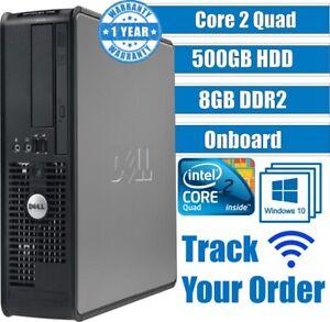 DELL CORE 2 Quad COMPUTER DESKTOP TOWER WINDOWS 10 8GB 500GB HDD GAMING PC FAST